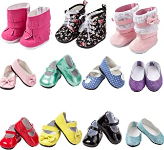 TOYYSB 6 Pairs of Doll Shoes Include Boots Leather Shoes Fits 18 Inch American Girl Doll