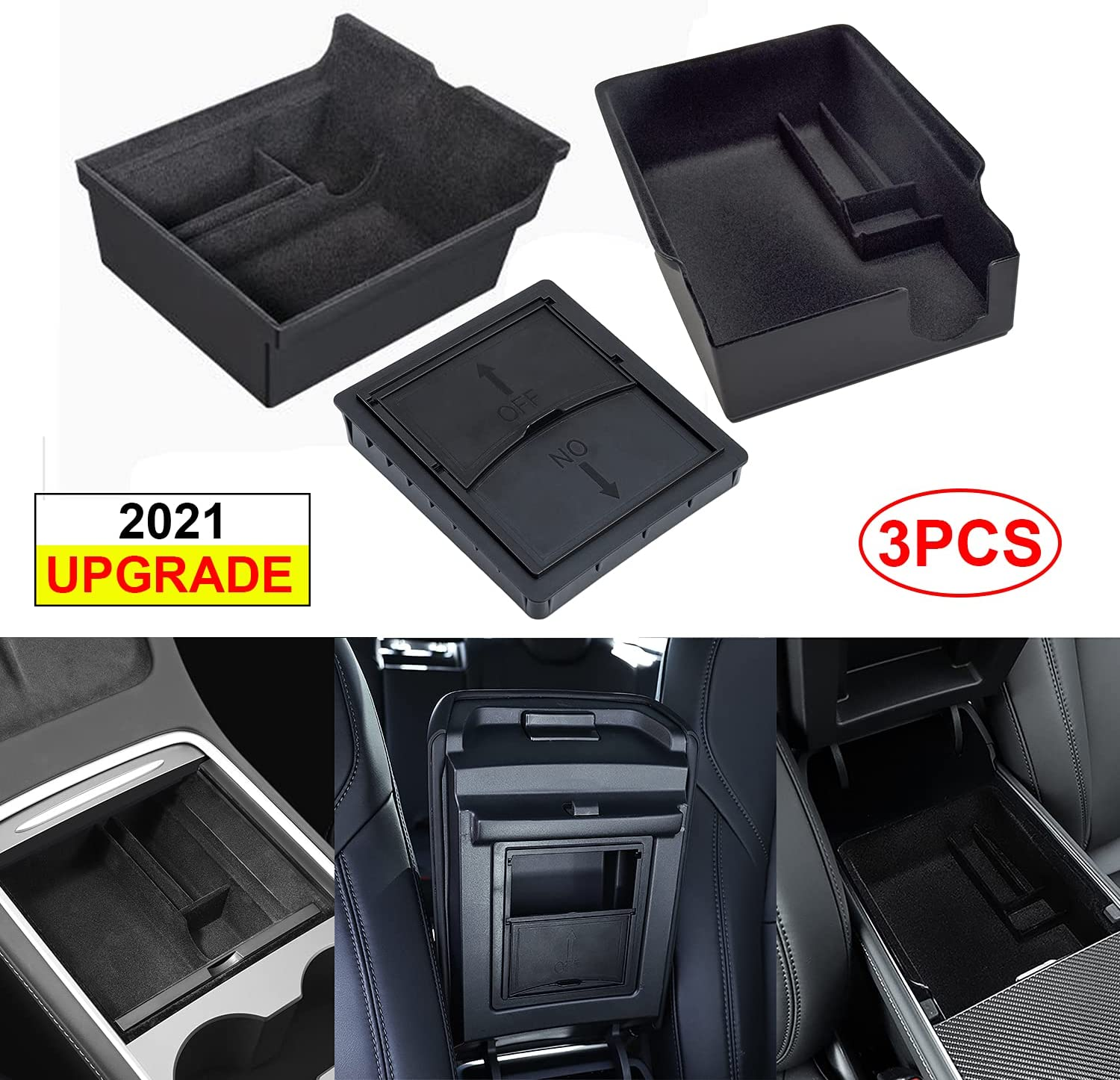 Luumtee 3PCS Center Console Organizer Tray Fit for Latest 2021 Tesla Model 3/Y Armrest Hidden Cubby Drawer Storage Box with Coin and Sunglass Holder Interior Accessories Tray (Flocked)