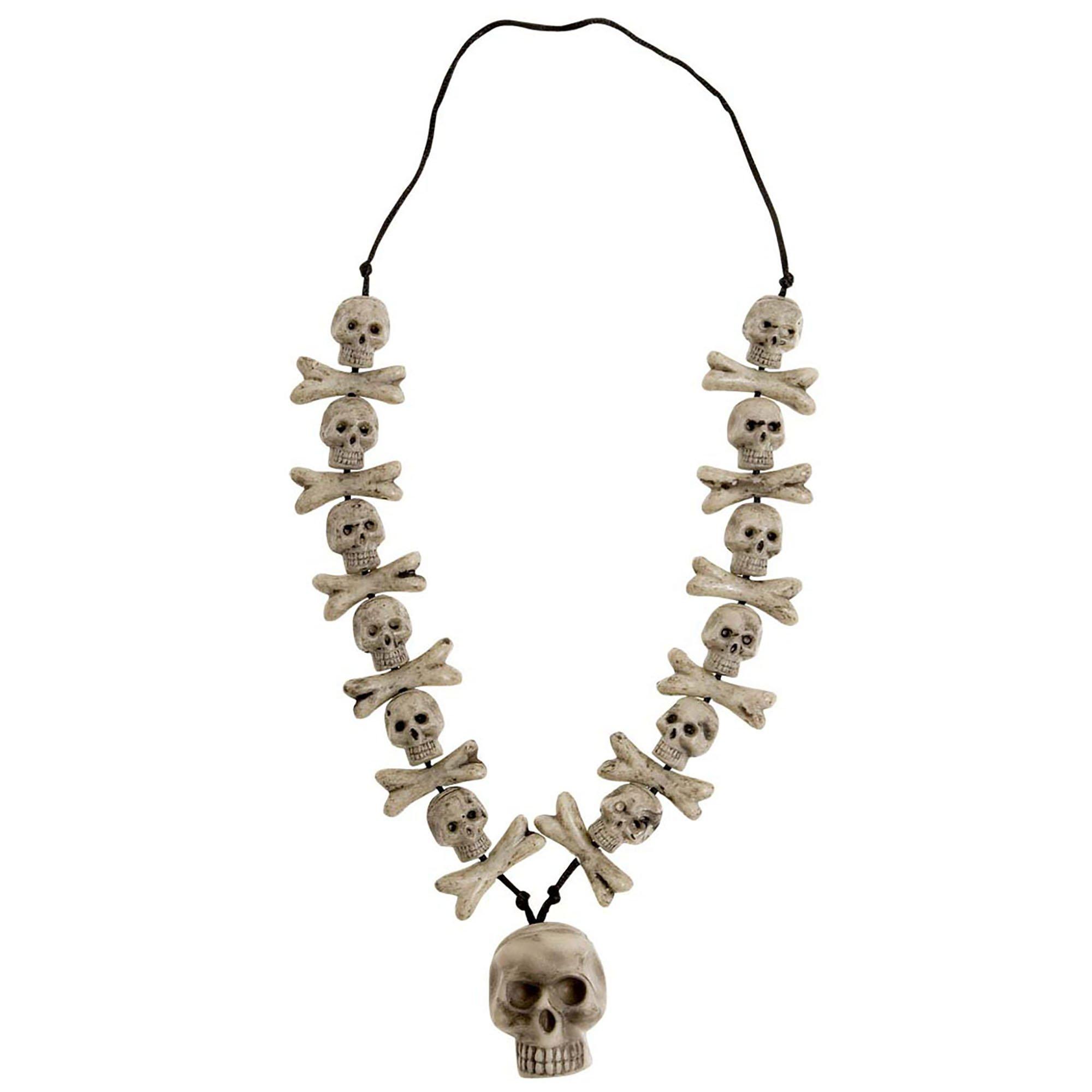 骷髅和十字骨项链 万圣节首饰适合花式服装配饰配件