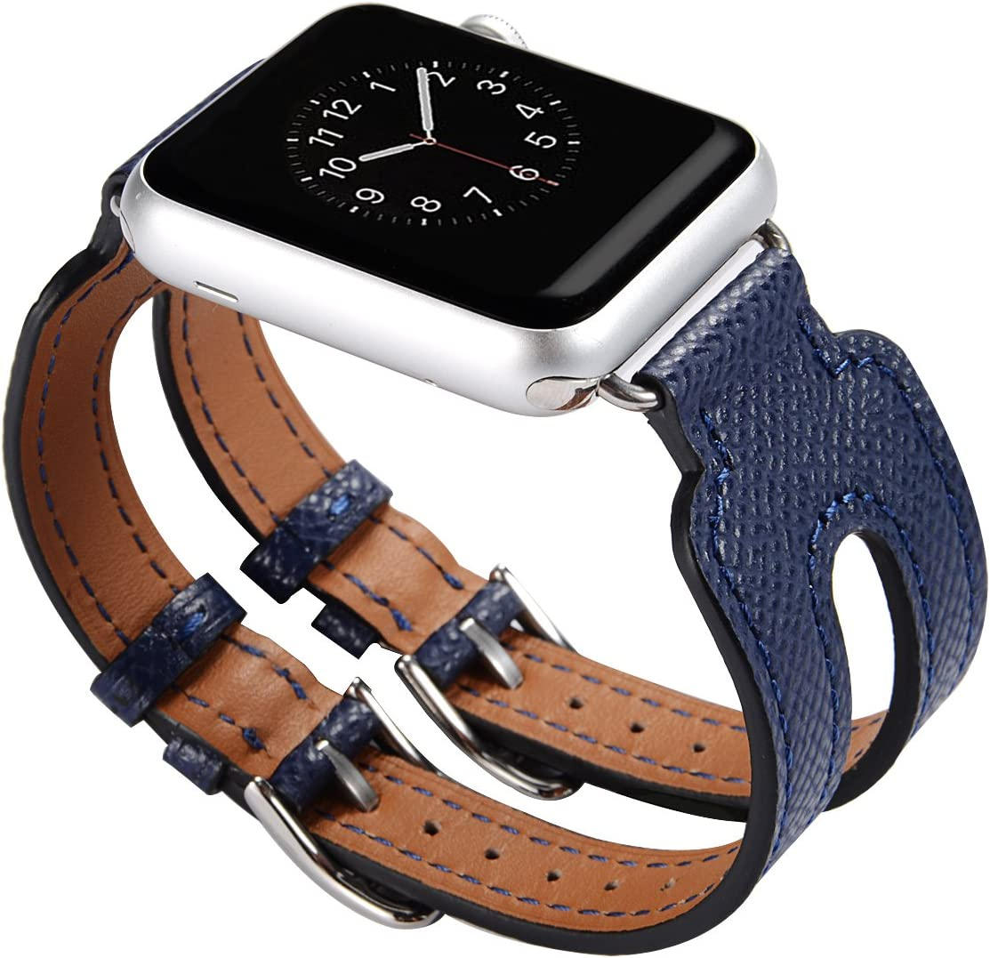 Maxjoy Compatible with Apple Watch Band 42mm,Leather Wristband with Metal Clasp for Women Men Double Buckle, Adjustable Watch Bands Replacement for iWatch Nike+ Series1/2 Sports Edition Blue