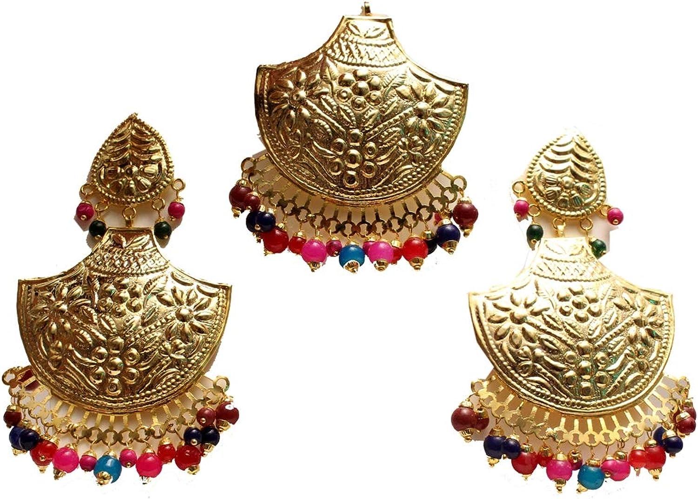 Gold Jadau Multi color Earrings Bridal Punjabi Indian Wedding Earrings Tikka Muslim Jewelry Set