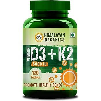 Himalayan Organics Vitamin D3 5000Iu with K2 As MK7 100Mcg Supplement 120 Veg Tablets