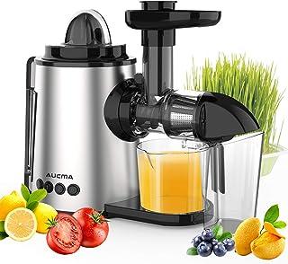 Aucma Licuadora Prensado en Frio, Licuadora Frutas Verduras,Extractor de zumos con Función inversa,Motor Silencioso,sin BP...