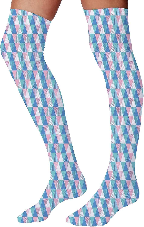Men's and Women's Fun Socks,Minimalist Gradient Wavy Flat Lines Influences Retro Stylized Print