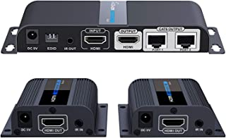 HDMI Extender 1080P@60HZ 1x2 Splitter Device Over CAT6 / CAT6A / CAT7 Cable, Transmission up to 40m/131ft with Loop-Out Local Display,Support IR Remote Control,EDID Function
