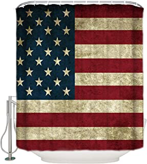 CHARMHOME Flag Shower Curtain Art Print Flag Painted on Wooden Planks Cloth Fabric Bathroom Curtains with Hooks,72X72 Inch