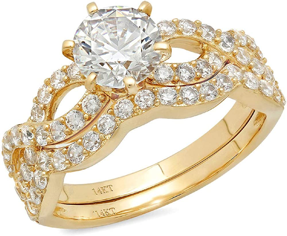 Clara Pucci 1.4 CT Round Cut Pave Halo Bridal Engagement Wedding