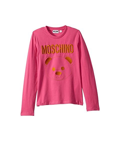 Moschino Kids Long Sleeve T-Shirt w/ Embroidered Toy Bear (Big Kids)