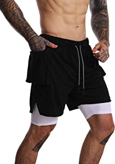 FLYFIREFLY Men's 2-in-1 Athletic Running Shorts Gym Training Yoga Short Pants with Big Pocket