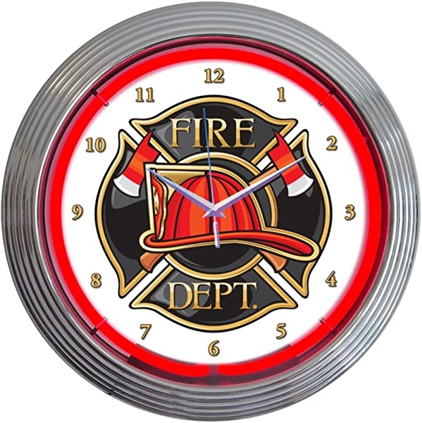 Neonetics Fire Department Neon Wall Clock 15 Inch