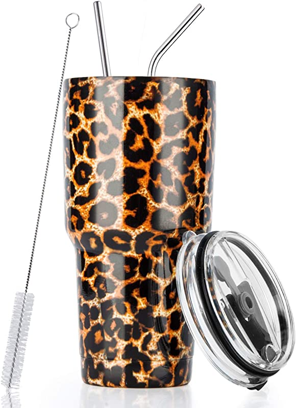 30oz Stainless Steel Insulated Leopard Tumbler Travel Mug With Straw Slider Lid Cleaning Brush Double Wall Vacuum
