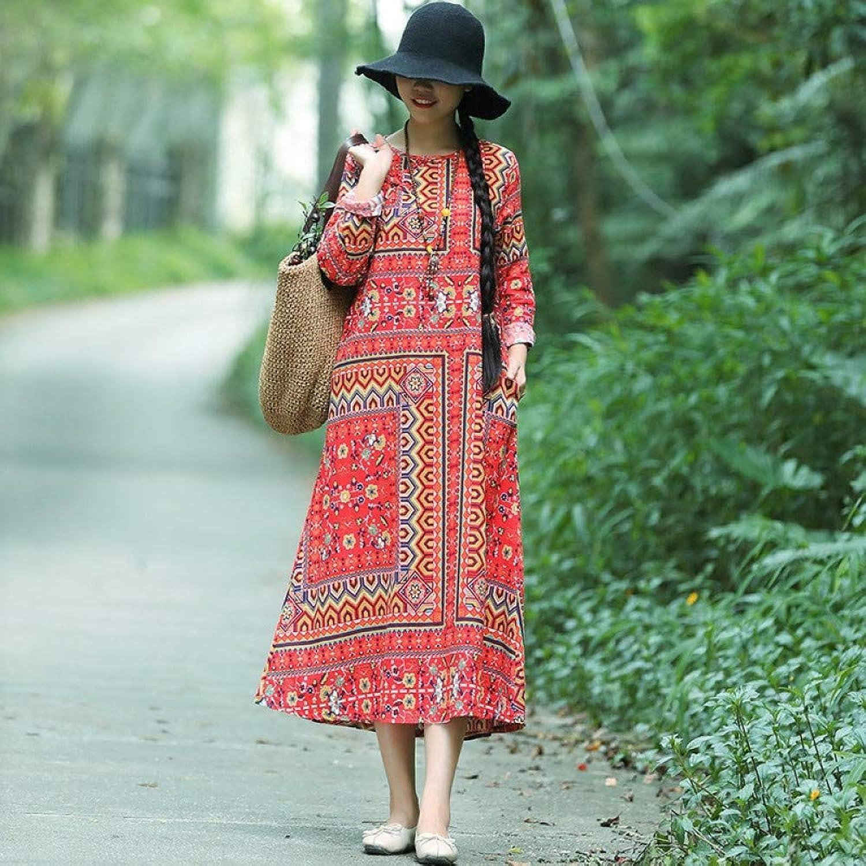 Cxlyq Dresses Autumn Cotton and Linen Dress Female Long Sleeve Loose Retro Buckle Dress