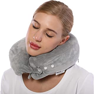 INNObeta Travel Pillow Neck Chin Supporting Pillow for Airplane, Flight Plane Traveling Pillow Memory Foam with Case, Comfort Airline Cushion Pillow for Travel (Grey)