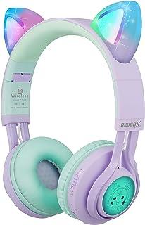 Riwbox CT-7S Auriculares Bluetooth con orejas de gato para niños, limitación de volumen a 85 dB, luz LED, inalámbricos con...