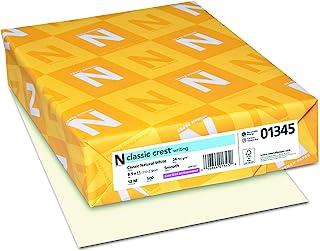 $21 » Neenah Paper 01345 Classic Crest Premium Paper, 24 lb, 8.5 x 11 Inches, White, 500 Sheets per Ream, Classic Natural White