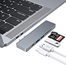 """USB C Hub, USB Type C Hub Adapter with 2 USB3.0 Ports, TF/SD Card Reader, USB-C Power Delivery, RayCue 5 in 1 Aluminum Hub Compatible with MacBook Pro 13"""" and 15"""" 2016/2017/2018"""