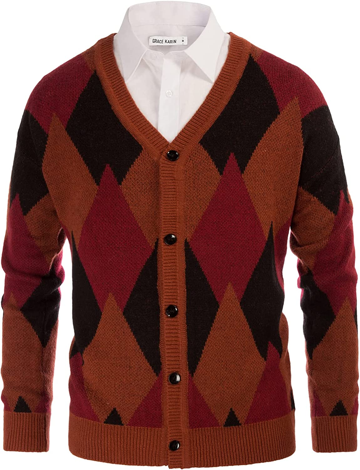 GRACE KARIN Men's V Neck Argyle Button Down Knitted Cardigan Sweater Casual Long Sleeve Contrast Knitwear