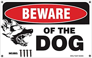 Beware of the Dog Sign With Screws - Large 11 X 7 High Gloss Aluminum - Easy Installation, Durable, Weather Resistant - By Wolf Bay