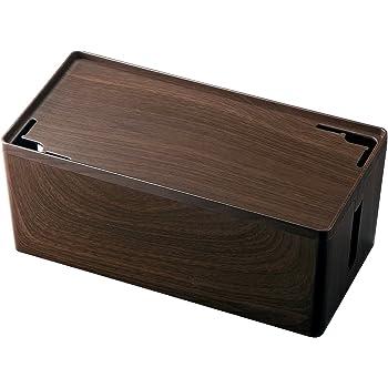 サンワダイレクト ケーブルボックス iPhone スマートフォン 設置 ケーブル収納ボックス 木目柄 200-CB001M