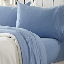 Great Bay Home Jersey Knit Sheets. All Season, Soft, Cozy Queen Jersey Sheets. T-Shirt Sheets. Jersey Cotton Sheets. Heather Cotton Jersey Bed Sheet Set. (Queen, Sky Blue)