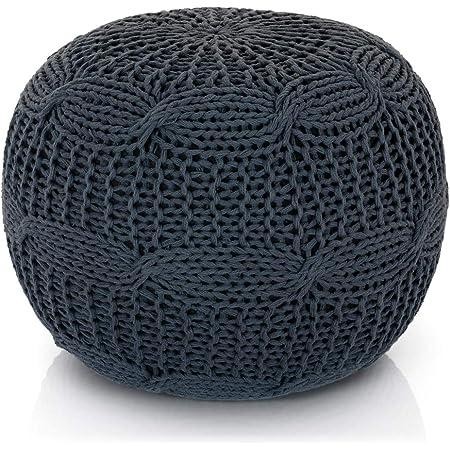 Gray knitted pouf Floor pouf ottoman Knit pouf Knitted ottoman Footstool Gray ottoman