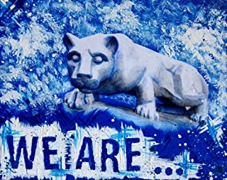 We Are Penn State Blue and White Art Nittany Lion Mixed Media Print