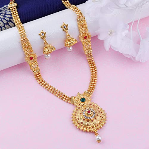Elegant Traditional Designer Long Set Gold Plated Necklace Jewellery Set For Women And Girls