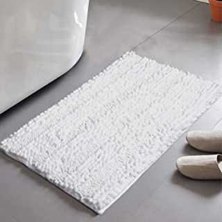 HAOCOO Chenille Bath Mat Non-Slip Shaggy Bathroom Rugs Soft and Absorbent Bath Rug Luxurious Plush Machine Washable Door Carpet for Shower Bedroom (20x31 inch, White)