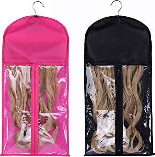2 Pack Portable Wig Hair Extension Storage Bag with Hanger Hairpieces Storage Holder Wigs Carrier Case for Store Style Hum...