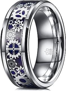 ثلاثة مفاتيح مجوهرات 6 مم 8 مم ستيم بانك جير عجلة من ألياف الكربون الأزرق الأسود خاتم الزفاف من التنجستن