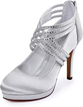 ElegantPark EP11085-PF Zapatos Novia Boda Plataforma Rhinestones Cerrado Zipper Raso Zapatos Fiesta Boda Mujer Plata Talla EU 40