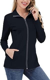 Women's Lightweight Full Zip Running Sport Jacket High Collar Workout Track Jacket with Pockets