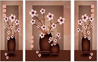 Saumic Craft Set Of 3 Self Adhesive Framed Floral Art Flower Wall Painting Scenery For Living Room , Home Decor , Hall , B...