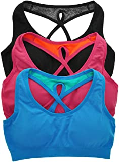ToBeInStyle Women's Pack of 3 or 6 Wide Cross-Strap Sports Bra