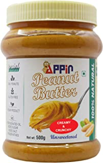 Appin™ All Natural Crunchy and Creamy Smooth unsweetened Peanut Butter | Only Peanuts,Gluten Free,no hydrogenated Oil,Vega...