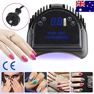Vinteky 64W Rechargeable Pro LED Gel Nail Dryer UV LED Nail Lamp Light Curing Lamp With Lifting Handle Touch Sensor LCD Screen Timer Setting for Gels Nail Polish 222 * 238 * 92mm (Black)