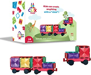 Clix-tiles magnetic building blocks toy | car set of 24 pieces magnet tiles for kids | boys girls educational STEM | fun p...