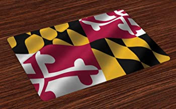 Lunarable American Place Mats Set of 4, Flag of The US State of Maryland Closeup 3D Style Picture Waving America National, Washable Fabric Placemats for Dining Table, Standard Size, Yellow Coral