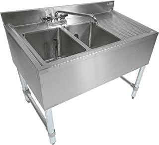 John Boos EUB2S36-1RD Stainless Steel Bar Sink, 2 Compartments, 36