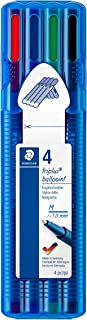 Staedtler 437 MSB4 ST - Penna a sfera Triplus Ball, triangolare, linea media, cancellabile, con 4 colori