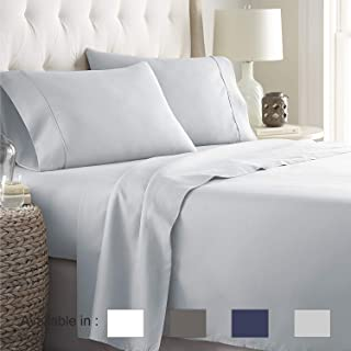 Full-Xl sheets Extra Deep Pockets 15 Inch 500 Thread Count 4 Piece Sheet Set 100% Cotton Sheet Set Light Grey Solid Sheet,long staple cotton Bedsheet And Pillow Cover,Sateen Finish,Soft,Breathable