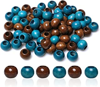 wooden beads dark brown large-hole 8 x 6.5mm 100 beads