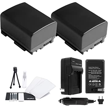 Replacement for Canon FS400 Battery and Charger with Car /& EU Adapters 2 Pack Compatible with Canon BP-808 Digital Camcorder Battery and Charger Decoded 890mAh 7.4V Lithium-Ion