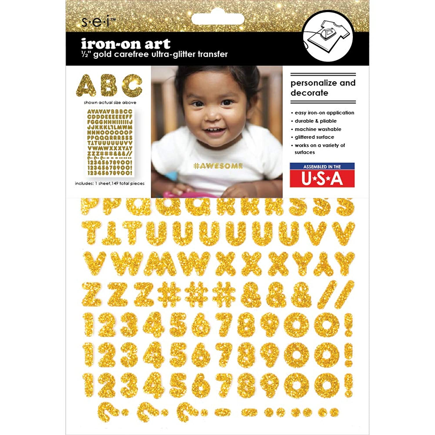Sei 1/2 Inch Carefree Glitter Letters & Numbers Iron on Transfer, Gold, 1-Sheet