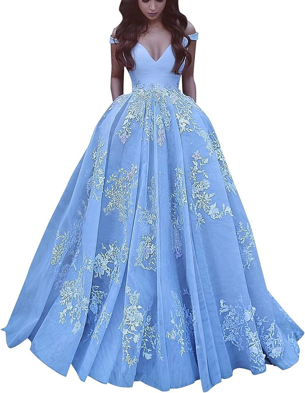 Ellystar Women's Covered Button Off Shoulder New Satin Sleeveless Prom Dresses