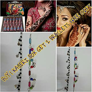 HANDMADE HENNA TEMPORARY TATTOOS FOR GIRLS, WOMEN NECKLACE, BRACELETS PATTERNS PACK OF 12 (READY TO USE)