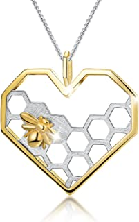 S925 Sterling Silver Necklace Pendant Honeycomb Bee Pendant with Link Chain Length 17inches, Handmade Unique Jewelry Gift for Women and Girls