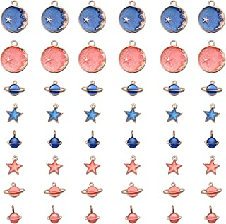 SUPVOX 80pcs Jewelry Making Charms Shining Moon Stars Globe Dripping Oil Charms for Necklace Bracelet DIY Jewelry Making Accessory (Pink and Blue)