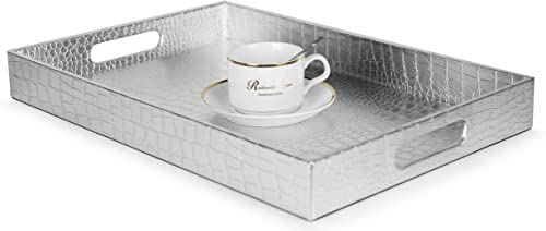 """Home Redefined Beautiful Modern Silver 18""""x12"""" Rectangle Glossy Alligator Croc Decorative Ottoman Coffee Table Perfum..."""