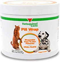 Vetoquinol Pill Wrap Treats for Dogs & Cats – 4oz, 56 servings – Hides Any Size, Shaped Pill – Moist, Flavorful & Shapeable Pill Pocket Paste – Easy-to-Swallow Masking Pill Pouch for Training & Treats